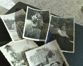 Set of 5 Small Black & White French Vintage Photographs with  free shipping