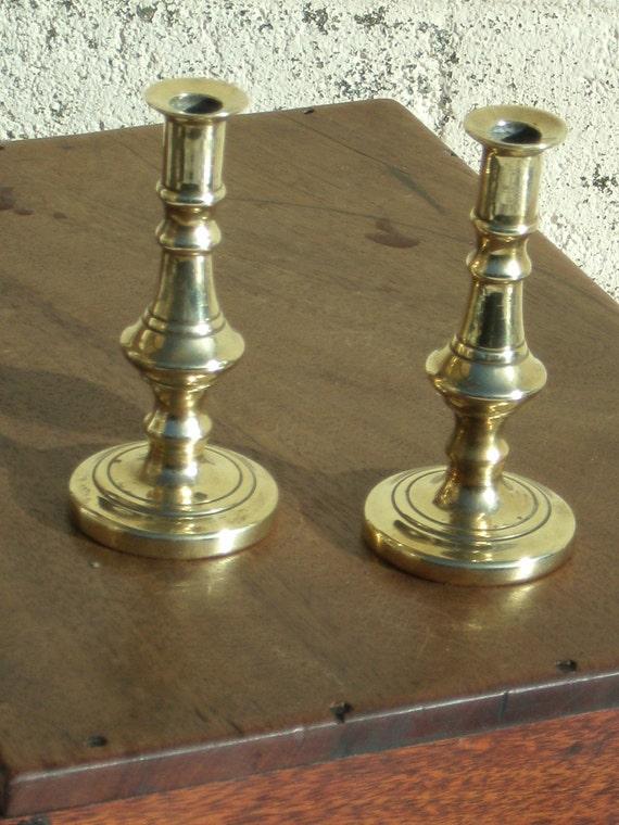 Pretty Pair of Small Brass Candlesticks