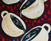 Coffee Cups Painting on Wood