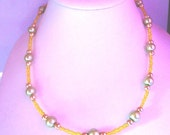 Yellow Glass Rocaille Seed Bead and Green Pearl Bead Necklace approx 18 inches by JulieDeeleyJewellery on Etsy