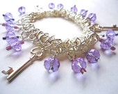 Lilac Crystal Glass and Silver coloured Key Elasticated Expanding Bracelet by JulieDeeleyJewellery on Etsy Ladies Jewelry 18th 21st Birthday