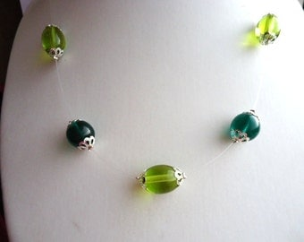 Necklace Lime Green Glass Oval and Dark Green Glass Round Illusion Floater by JulieDeeleyJewellery on Etsy