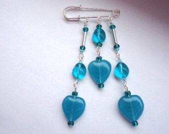 Teal Glass Heart Bead and Pebble Fashion Trend Kilt Pin Brooch by JulieDeeleyJewellery on Etsy Ladies Jewelry