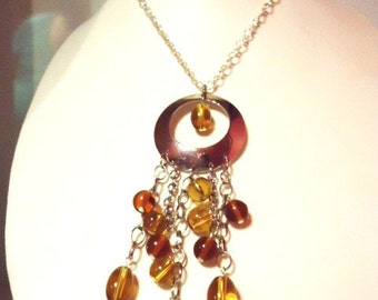 Light and Dark Topaz brown colour glass bead long fashion trend necklace-Handmade Necklace-Gifts for women-Gifts for her-Ladies Jewellery