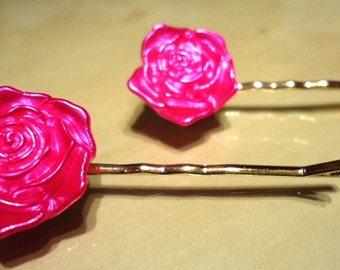 Pink Metallic Rose Floral Flower Fashion Trend Pair of Hair Grips-Bobby Pins-Hair Grips-Hair Pins-Flower Hair Grips-Hair Accessories
