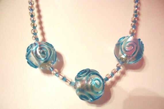 Necklace Triple Spiral Turquoise Blue Glass by JulieDeeleyJewellery on Etsy