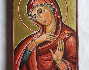 Virgin Mary. Byzantine icon handmade painted. Catholic icon Greek icon Russian icon