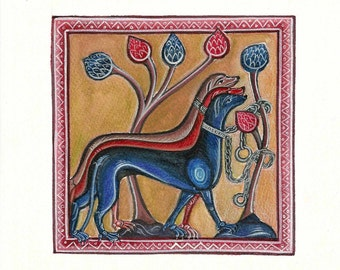 Medieval Greyhounds. Handmade painting.