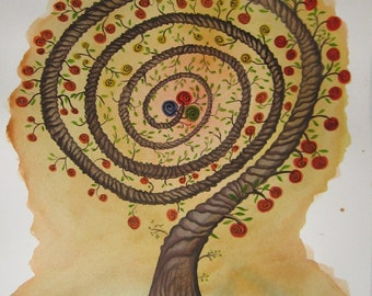 Tree of Life. Original watercolor handmade painted.