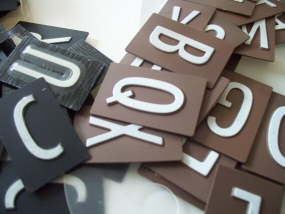 Metal Alphabet Letters Tiles Black & Brown Great for Scrapbooks, Mixed Media and More