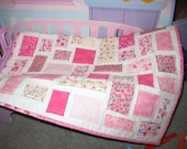 Pink Baby Doll Quilt / Blanket  Table topper- Ticker Tape style with Pillow