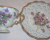 Ucagco China Purple Gold Pierced Cup and Saucer Japan