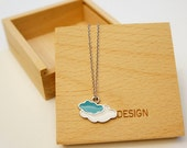 Handmade Silver Daydreaming Charm Necklace (Cloud necklace Cloud charm)  w/ wooden jewelry box