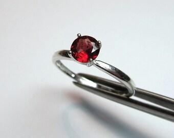 Charming Petite Genuine Garnet in Sterling Silver Ring