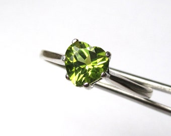 Bright Genuine Peridot Heart in a Sterling Silver Setting