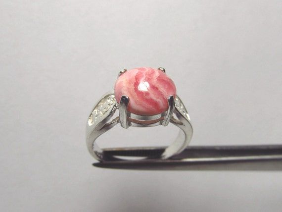 Splendid Genuine Rhodochrosite Cabochon in Sterling Silver Ring Size 6.75