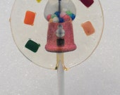 Bubblegum Lollipops - 12 Gourmet Candy Lollipops with Edible Images - Wafer Bubblegum Machine & Tiny Size Chiclets - Very Unique