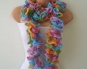 Colored scarf, colored ruffled lace scarf, long, neckwarmer, style, Flamenco, can can, soft, smart, women accessories, winter fashion