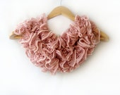 Pink handmade knit scarf, lavender pink scarf, ruffled lace, Flamenco, cowl, neckwarmer, soft long scarf, 2012 trends, winter accessories