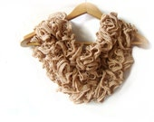 Brown scarf - Hand knitted scarf, ruffled lace scarf, long accessories, flamenco, can can, ruffle long, Christmas gift scarf