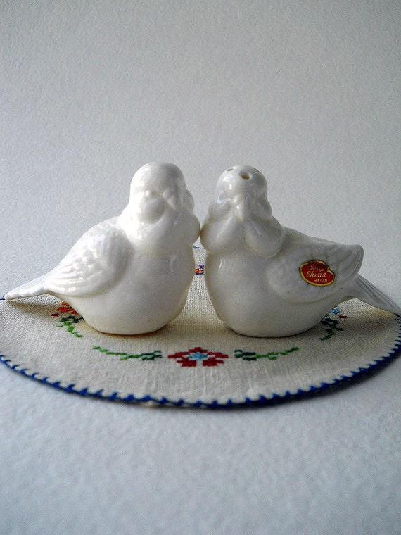 Vintage Doves Salt and Pepper Shakers