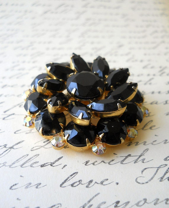 Vintage Black Glass Marquise Cut Brooch with Iridescent Rhinestones