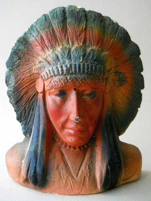 Vintage Chalkware Indian Chief Head, Hex Manufacturing 1940's