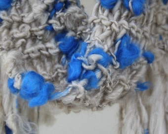 Hand Knit  Scarf, named Blues Brothers, in all Natural Light Gray and Blue of Super Soft Handspun Wool Yarn