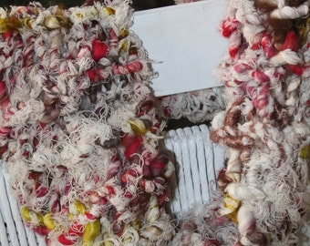 SALE Hand Knit Infinity (Cowl) Scarf, in Off White and Red, and made of  Bulky Hand Spun Hand Dyed Yarn