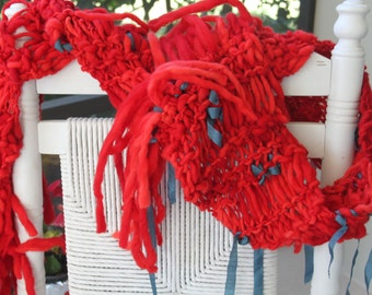 Hand Knit Scarf, in Red with Teal Ribbons of Super Soft Handspun Hand Dyed Yarn
