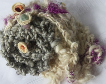 Hand Knit Bulky Scarf, in Gray and Ivory, with a little flowers and sparkle, of  Super Soft Handspun Hand Dyed Bulky Yarn