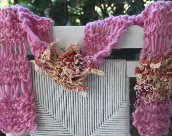 SALE Hand Knit Scarf in Pink with printed fabric pieces, made of Handspun Hand Dyed Super Soft Bulky Yarn