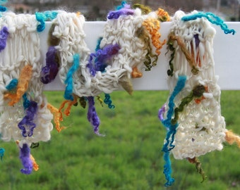Hand Knit  Scarf, in Ivory with Purple, Turquoise and Gold Long Curls, of Handspun Hand Dyed Wool Yarn