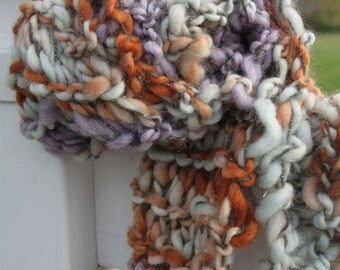Hand Knit Bulky Scarf, in Purple, Gray, Orange and more, of Super Soft Handspun Hand Dyed Bulky Yarn