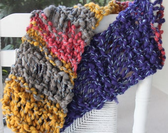SALE Beautiful Hand Knit Scarf,  Multi color, Blue, Pink, Yellow, of  Super Soft Handspun Hand Dyed Bulky Yarn