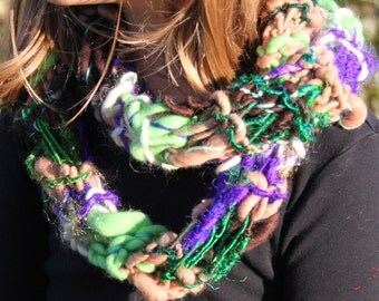SALE Hand Knit Scarf - the Rolling Stones, in Purple, Green, Brown, Gold,  Multi colors and is a blend of Handspun Hand Dyed Materia