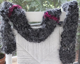 SALE Hand Knit Scarf, in Black with White Eyelash and Maroon Ribbons of Super Soft Handspun Hand Dyed Yarn