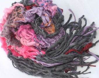 Hand Knit Scarf in Gray, Purple, Pink, Ribbon and more, Handspun Hand Dyed Super Soft Bulky Yarn