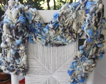 SALE Hand Knit Blue Scarf in Super Bulky Ivory Handspun Hand dyed yarns, in Ivory Yarn with shades of blue and gray