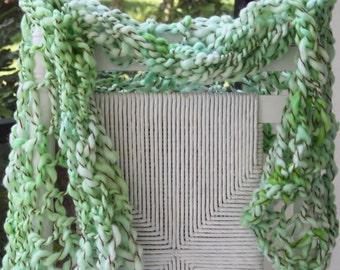 Hand Knit Bulky Shawl Scarf combo, in light Green, Super Soft Handspun Wool Yarn, wonderful  Present