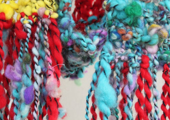 """Hand Knit Scarf 'Song for You"""" by Leon Russell, RocknRoll,  Multi color, Blue, Red, Yellow, of  Super Soft Handspun Hand Dyed Bulky Yarn"""