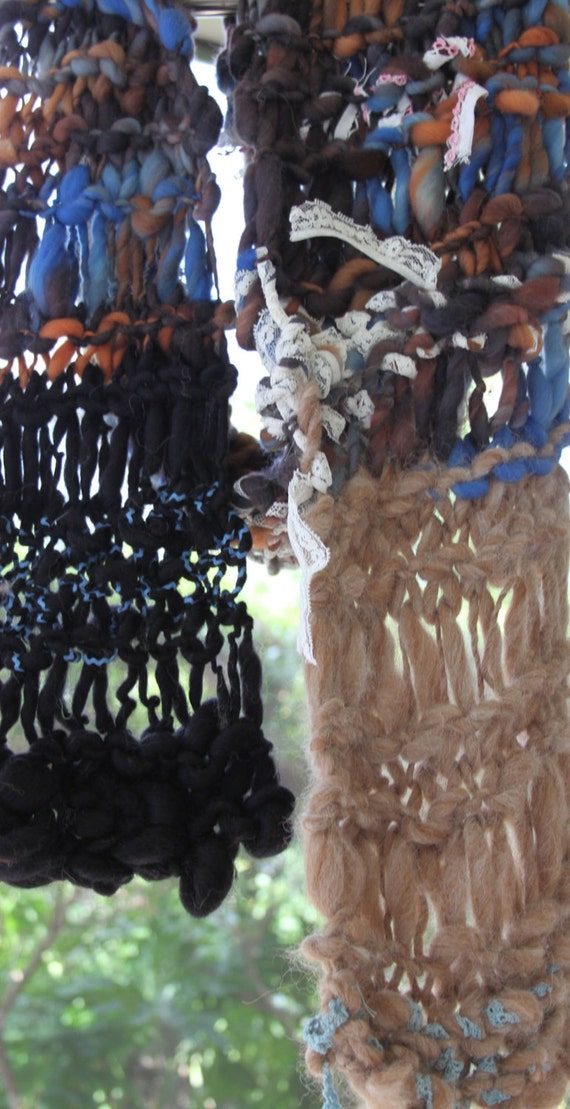 Hand Knit Scarf named Leather and Lace Scarf (Stevie Nicks), Rock n Roll Gray, Brown, Lace of Super Soft Handspun Wool