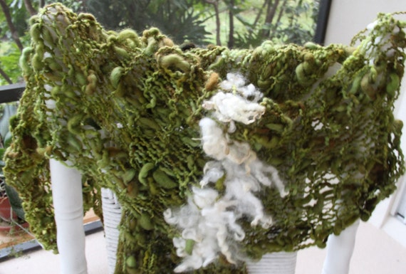 Hand Knit Shawl made of Gorgeous Thick and Thin Olive Brown Green Yarns plus locks, made of Rustic Argentina Wool