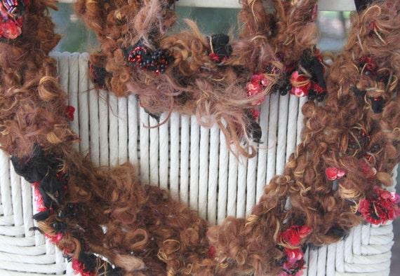 SALE Hand Knit Scarf, Bulky Brown Yarn with Raw Curls, recycled gown  Black and Red Beaded and Sequined Material is throughout