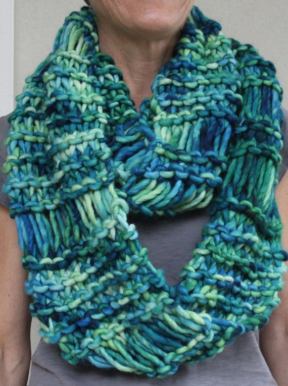 Infinity Scarf Knitting Pattern Super Bulky : Hand Knit Infinity Cowl ScarfSuper Bulky Green Blue by ...
