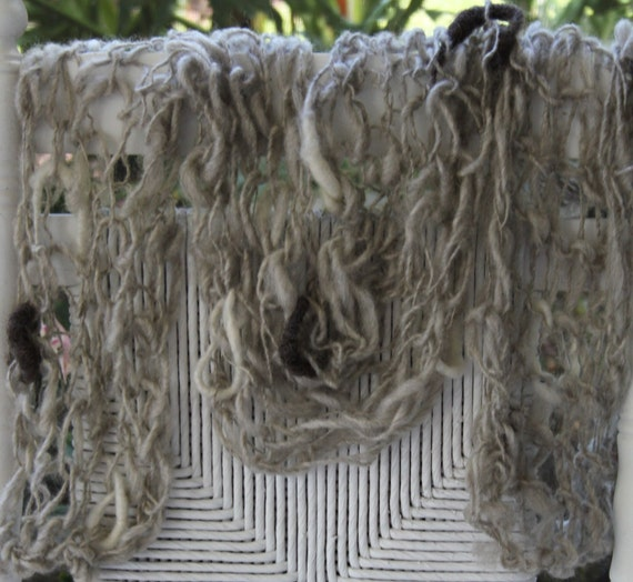 SALE Hand Knit Scarf, in Gray with raw wool Cocoons, Handspun Wool, wonderful Present