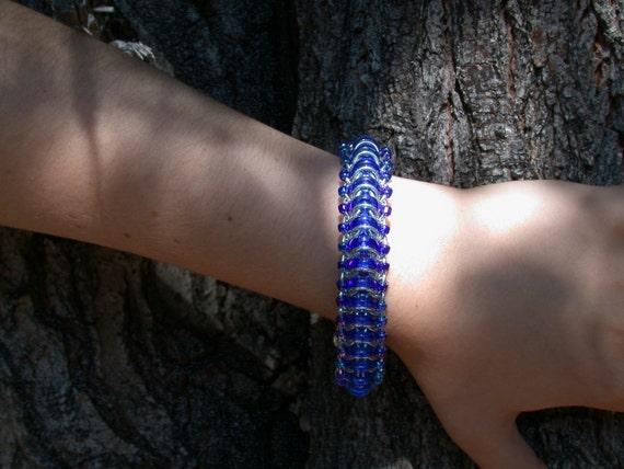 Glass Caterpillar, chain-mail bracelet SALE