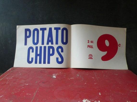 Vintage Original 1940s Promotional Grocery Sign. Potato Chips.