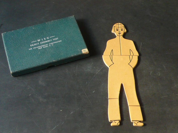 Vintage Wood Psychological Object Assembly Test. WISC 1950s. Person.