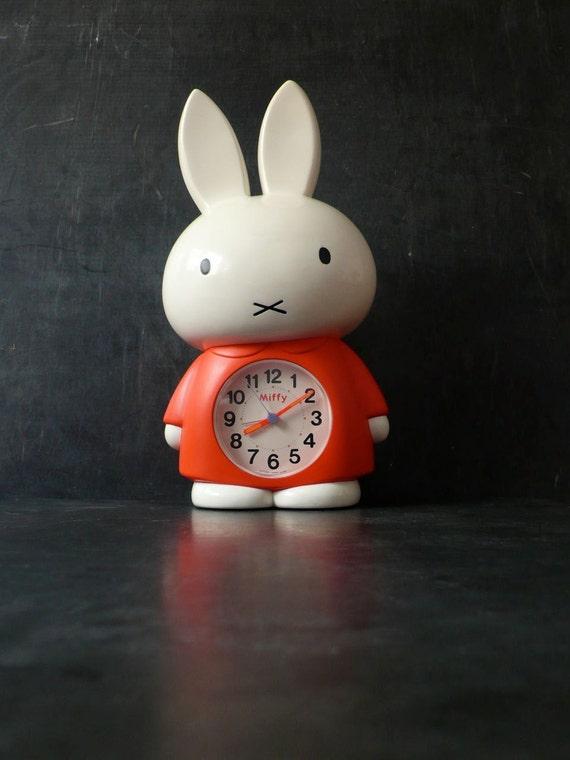 Vintage 13 inch Miffy Clock. Japanese talking. Dick Bruna. 1970
